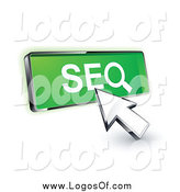 Vector Clipart of a 3d Cursor Clicking on a Green SEO Button by Beboy