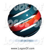 Vector Clipart of a 3d Floating Navy Blue and Red Globe Logo by Beboy