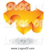 Vector Clipart of a 3d Floating Orange Puzzle Piece Logo by Cidepix