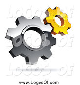 Vector Clipart of a 3d Floating Silver and Yellow Gear Cog Wheels Logo by Beboy