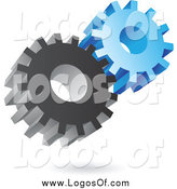 Vector Clipart of a 3d Metal and Blue Gear Cog Logo by Cidepix
