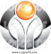 Vector Clipart of a 3d Orange Orb in a Chrome Circle Logo by Beboy