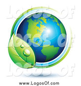 Vector Clipart of a 3d SGreen and Blue American Globe with Blue and Green Lines and a Dewy Leaf by Beboy