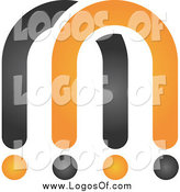 Vector Clipart of a Abstract Black and Orange Letter M Logo by Qiun