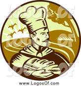 Vector Clipart of a Baker and Bread Logo by Patrimonio