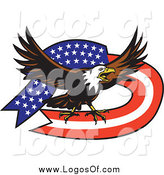 Vector Clipart of a Bald Eagle and American Flag Ribbon Banner by Patrimonio