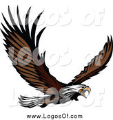 Vector Clipart of a Bald Eagle Flying Logo by Chromaco