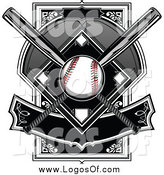 Vector Clipart of a Baseball and Diamond with Crossed Bats and Banner Logo by Chromaco