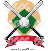 Vector Clipart of a Baseball Bat Red Banner Field and Ball Logo by Pams Clipart