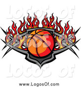 Vector Clipart of a Basketball over a Tribal Shield with Flames Sports Logo by Chromaco