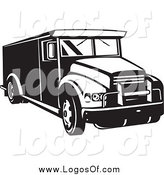 Vector Clipart of a Black and White Armored Bank Car Logo by Patrimonio