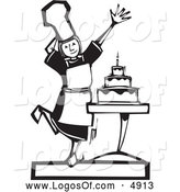 Vector Clipart of a Black and White Baker Girl Presenting a Cake Logo by Xunantunich