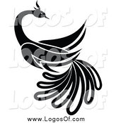 Vector Clipart of a Black and White Beautiful Bird Logo by Vector Tradition SM