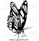 Vector Clipart of a Black and White Butterfly Logo by Dero