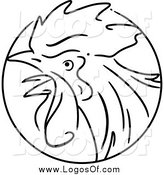 Vector Clipart of a Black and White Chinese Zodiac Rooster Circle Logo by BNP Design Studio
