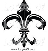 Vector Clipart of a Black and White Fleur De Lis Logo by Vector Tradition SM