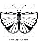 Vector Clipart of a Black and White Flying Butterfly Logo by Dero