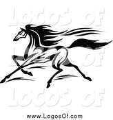 Vector Clipart of a Black and White Horse Running Logo by Vector Tradition SM