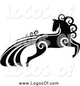 Vector Clipart of a Black and White Horse with a Swirl Tail Logo by Vector Tradition SM