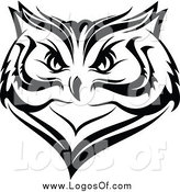 Vector Clipart of a Black and White Owl Face Logo by Vector Tradition SM