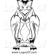 Vector Clipart of a Black and White Owl Logo by Vector Tradition SM
