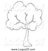 Vector Clipart of a Black and White Tree Logo by Hit Toon