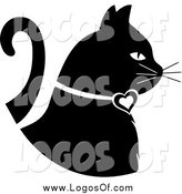 Vector Clipart of a Black and White White Profiled Cat with a Heart Collar by Pams Clipart