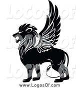 Vector Clipart of a Black and White Winged Lion in Profile Logo by Vector Tradition SM