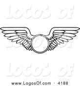 Vector Clipart of a Black and White Wings with a Circle Logo by Vector Tradition SM