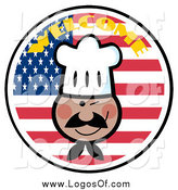 Vector Clipart of a Black Chef Winking over an American Flag Circle Logo by Hit Toon
