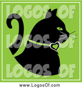 Vector Clipart of a Black Profiled Cat on Green by Pams Clipart