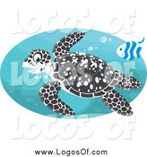 Vector Clipart of a Black Spotted Sea Turtle and Fish Swimming in an Oval by Alex Bannykh