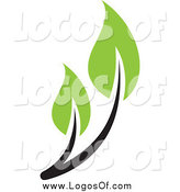 Vector Clipart of a Black Stemmed Green Leaf Seedling Plant Logo by Elena