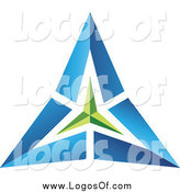 Vector Clipart of a Blue and Green Pyramid Triangle Logo by Cidepix