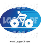 Vector Clipart of a Blue and White Cyclist Logo by Vector Tradition SM