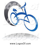 Vector Clipart of a Blue Bicycle and Gray Swoosh Cycling Logo by Vector Tradition SM