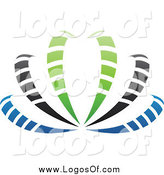 January 1st, 2014: Vector Clipart of a Blue, Green, Gray and Black Blooming Logo by Cidepix