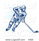 Vector Clipart of a Blue Ice Hockey Player by Vector Tradition SM