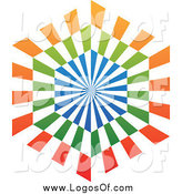 Vector Clipart of a Blue, Orange and Green Hexagon Logo by Cidepix