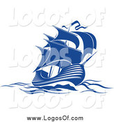 Vector Clipart of a Blue Sailing Ship Logo by Vector Tradition SM