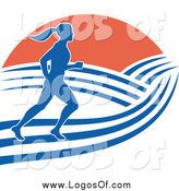 Vector Clipart of a Blue Silhouetted Female Marathon Runner with Hills and Sunrise Logo by Patrimonio