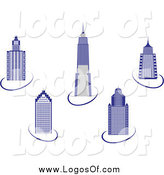 Vector Clipart of a Blue Skyscraper and Swoosh Logos by Vector Tradition SM