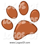 Vector Clipart of a Brown Paw Print Logo by Hit Toon
