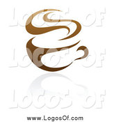 Vector Clipart of a Brown Steamy Coffee Cup Logo by Elena