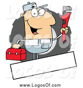 Vector Clipart of a Caucasian Auto Mechanic and Copy Space Logo by Hit Toon