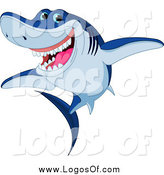 Vector Clipart of a Cheerful Blue Shark Logo by Pushkin