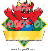 Vector Clipart of a Devil on a Green Diamond Sign by Toons4Biz