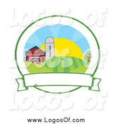 Vector Clipart of a Farmland at Sunrise Logo by Hit Toon