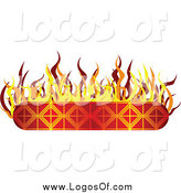 Vector Clipart of a Flaming Banner Label Logo by Vectorace