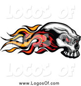 Vector Clipart of a Flaming Skull by Chromaco